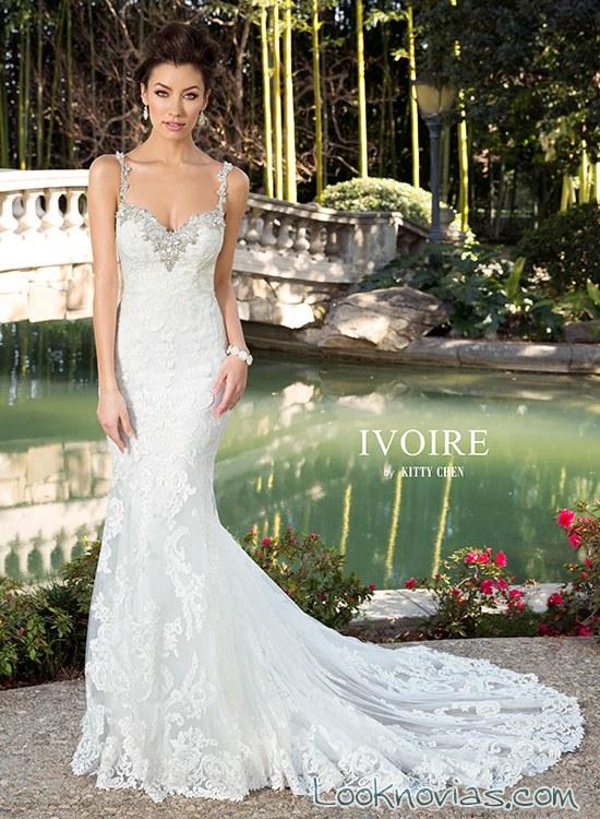 vestido de novia sirena kittychen con pedrería