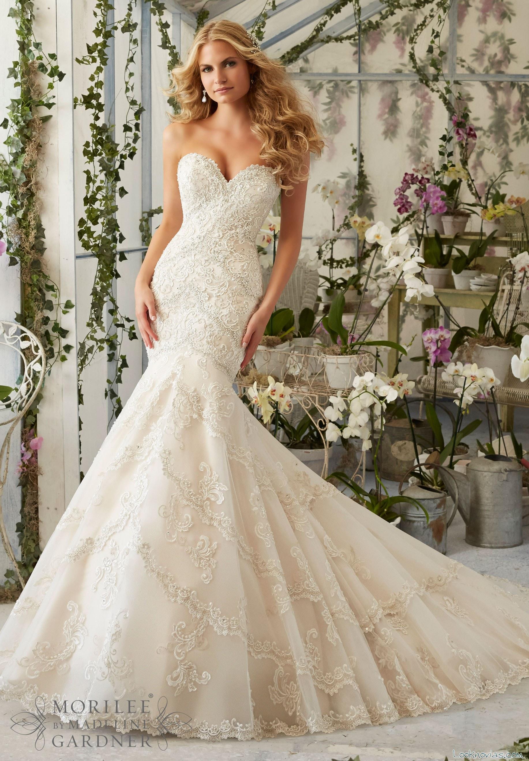 vestido de novia sirena por mori lee 2016