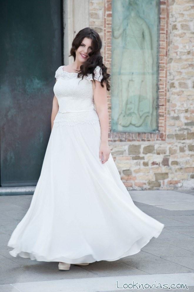 vestido de novia tallas grandes con manga corta