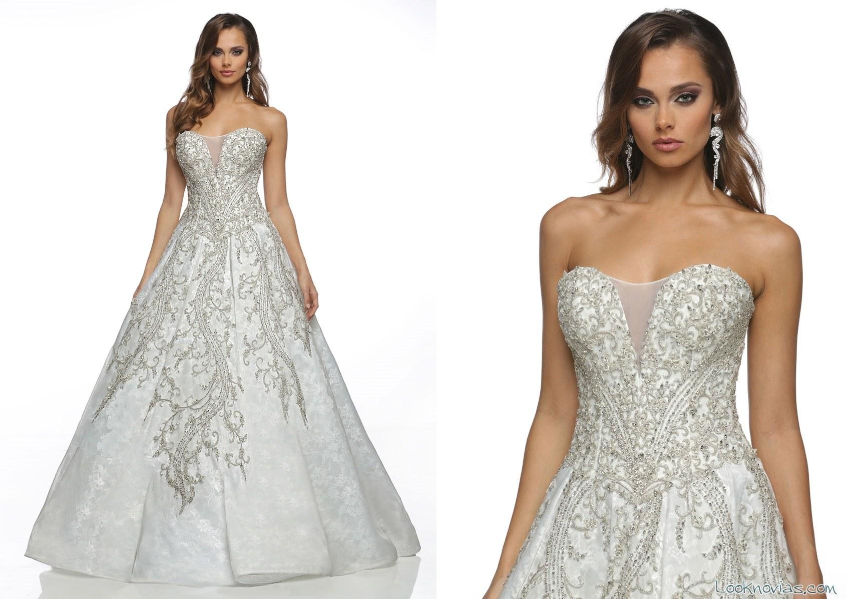 vestido de novia victor harper con pedrería