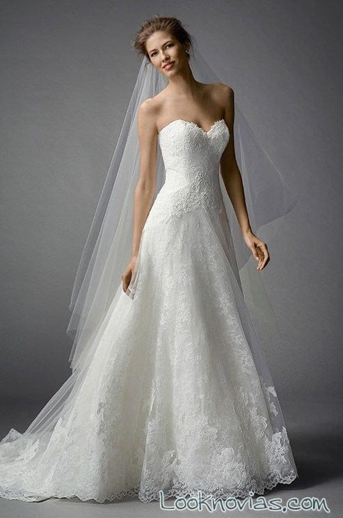 vestido de novia watters strapless