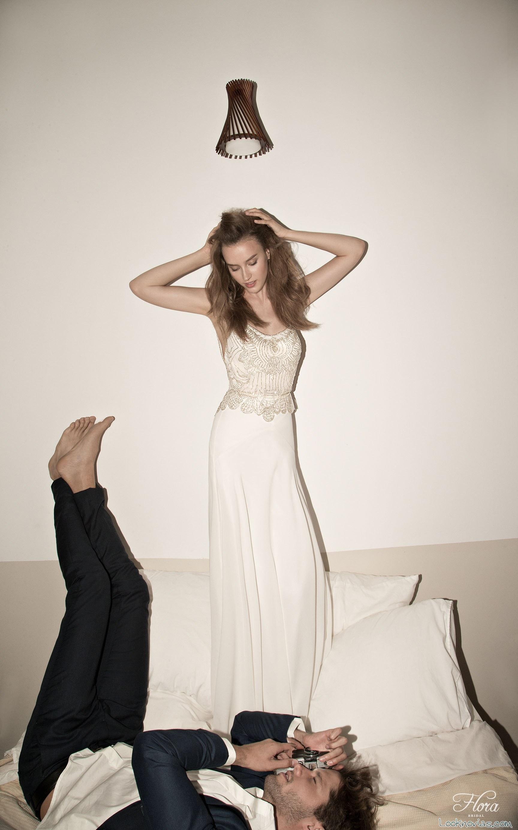 vestido de tirantes con encaje de flora bridal