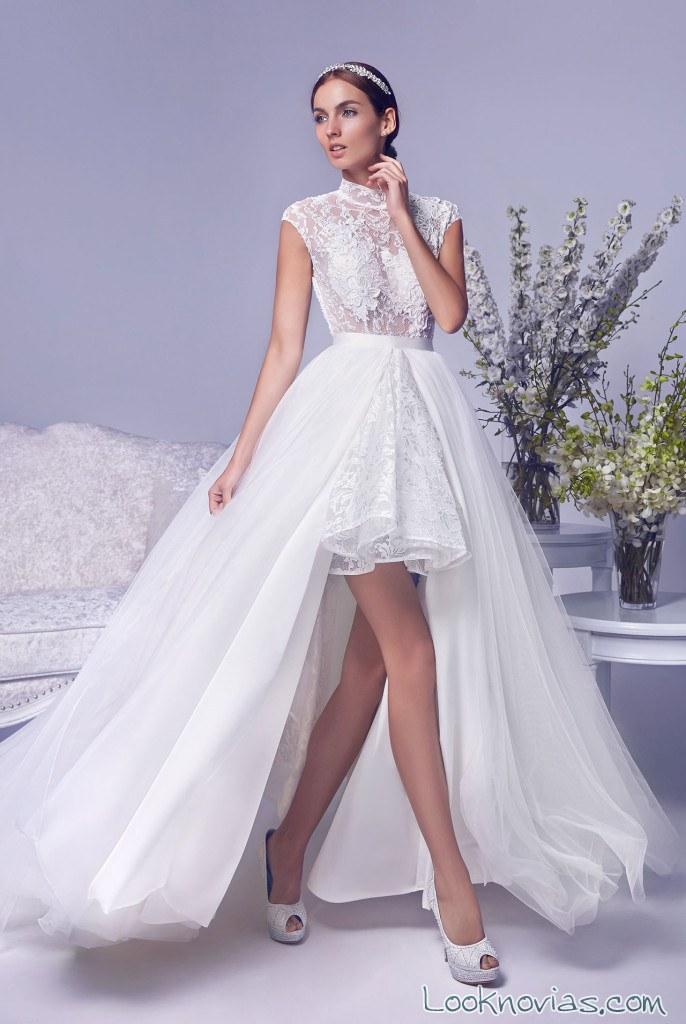 vestido de tul con falda corta para novias