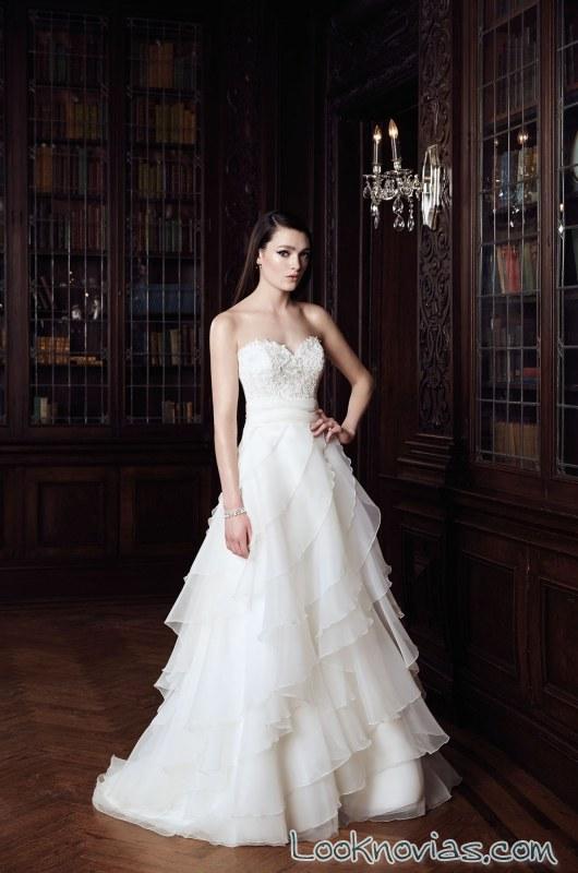 vestido de volantes mikaella bridal