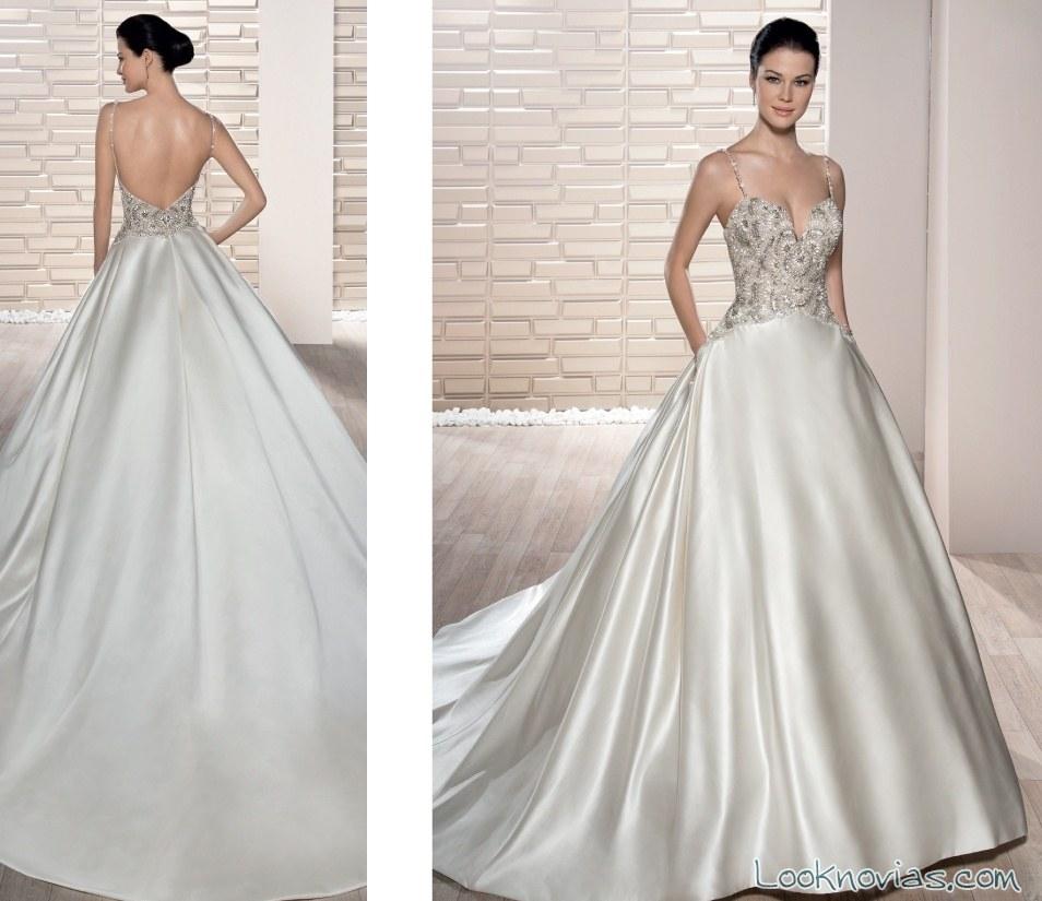 vestido demetrios con falda satinada novias