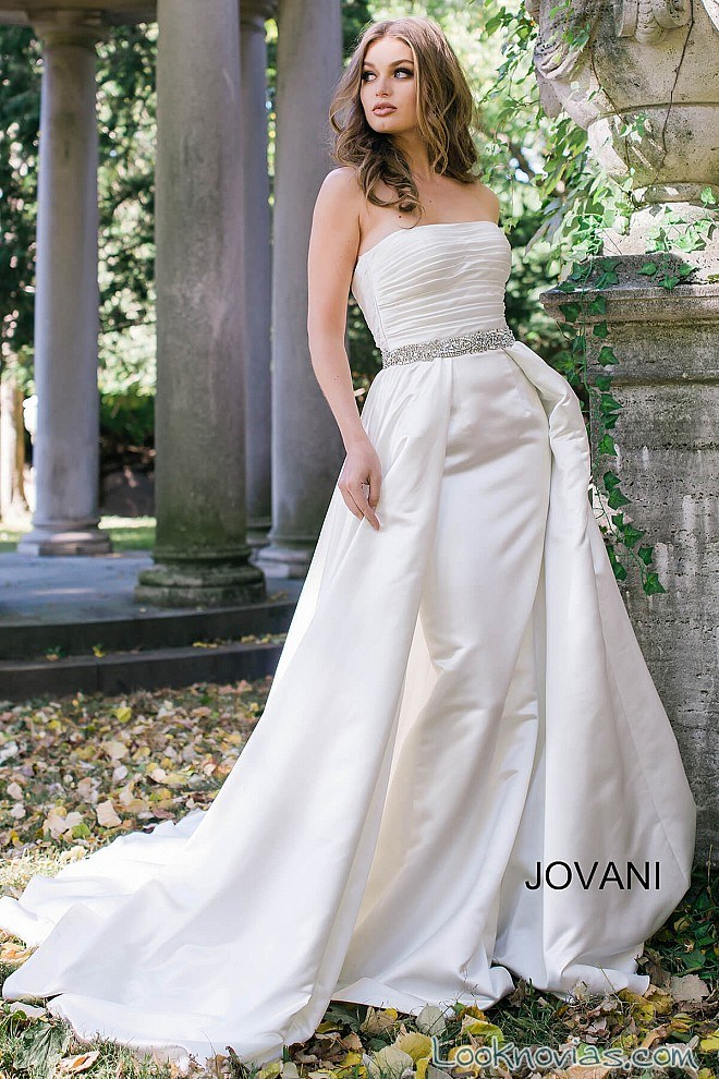 vestido doble falda jovani