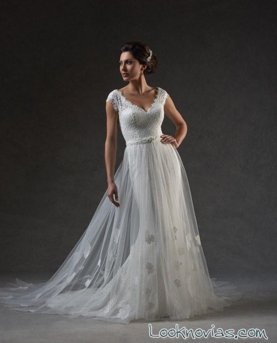vestido doble falda lisa bonny bridal