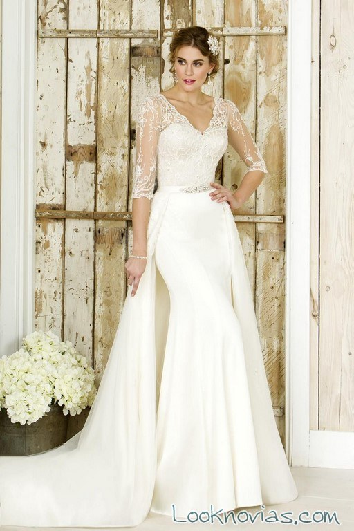 vestido doble falda true bride blanco
