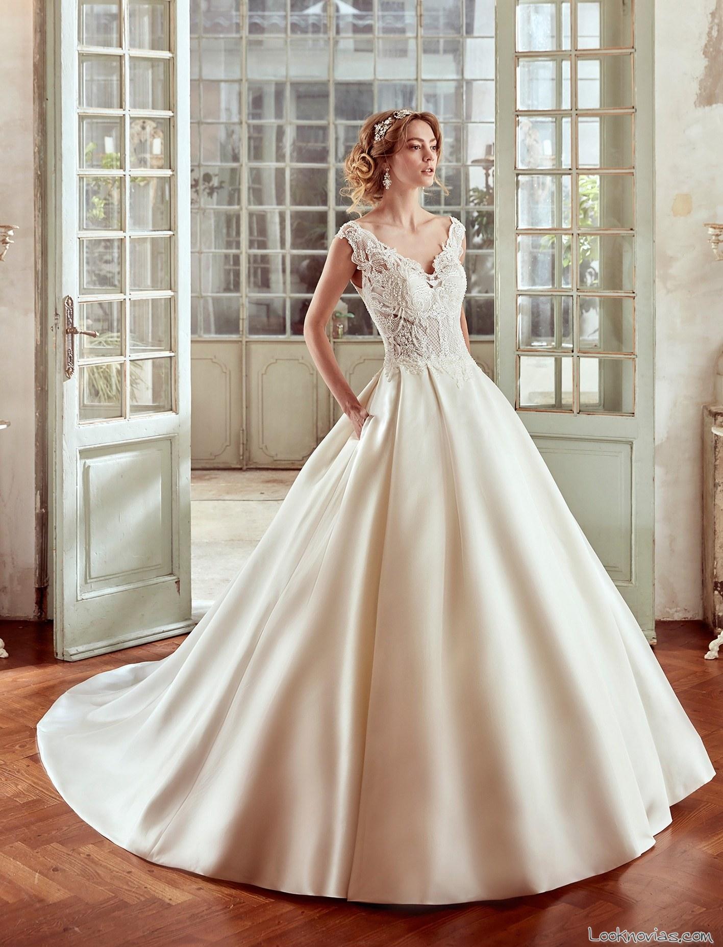 vestido elegante nicole spose 2017 tirantes