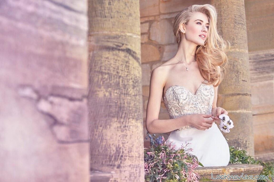 vestido ellis bridals con corpiño de pedrería y bordados