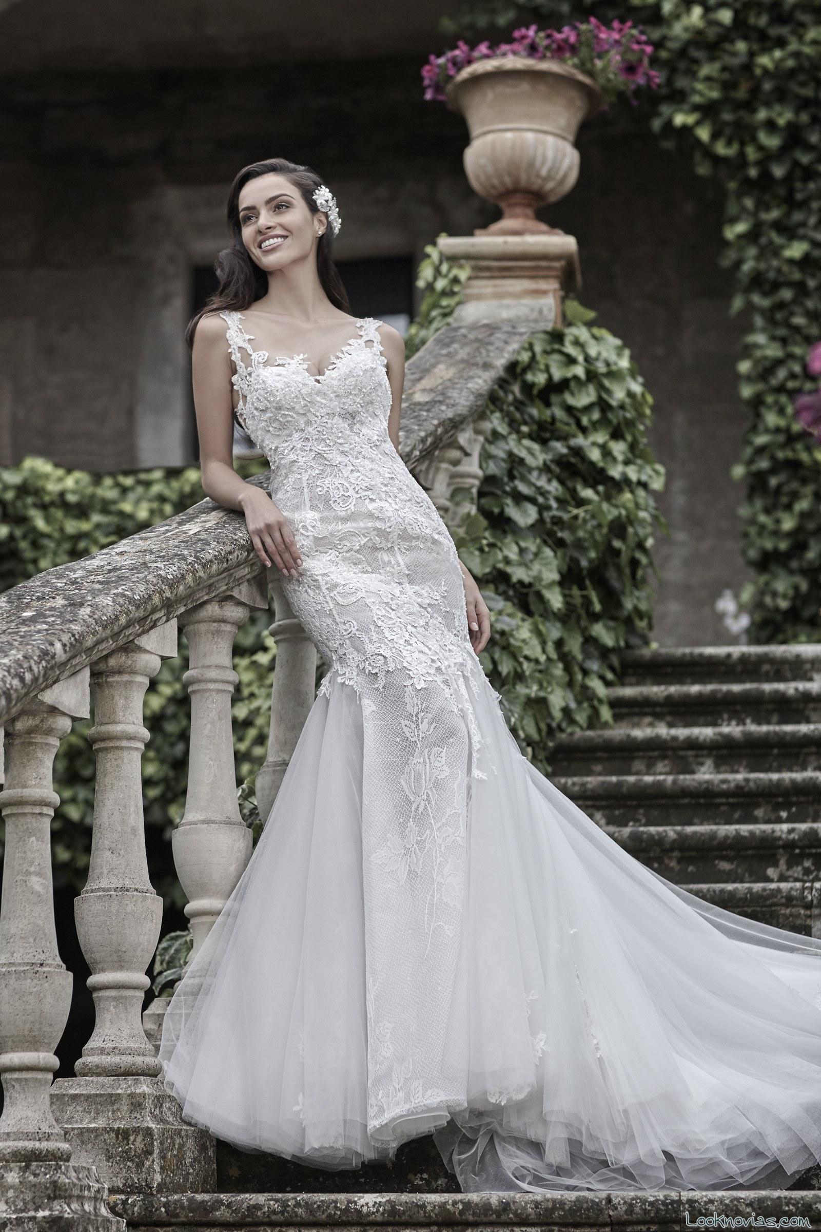 vestido encajes moderno de novias