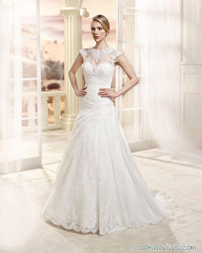 vestido evasé de novia con doble falda