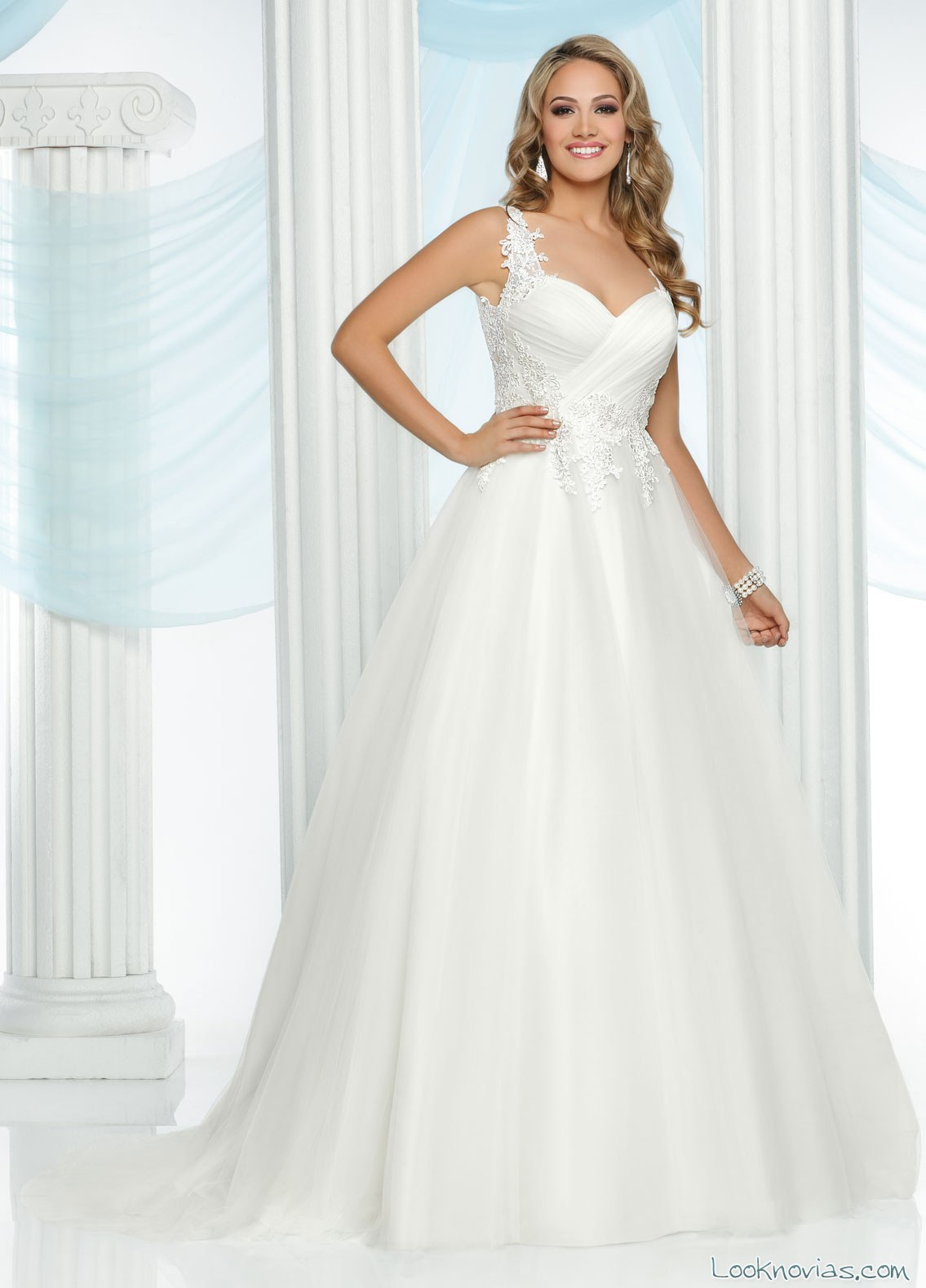 vestido evasé de tul da vinci bridal