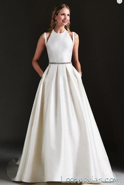 vestido evase novias con escote original