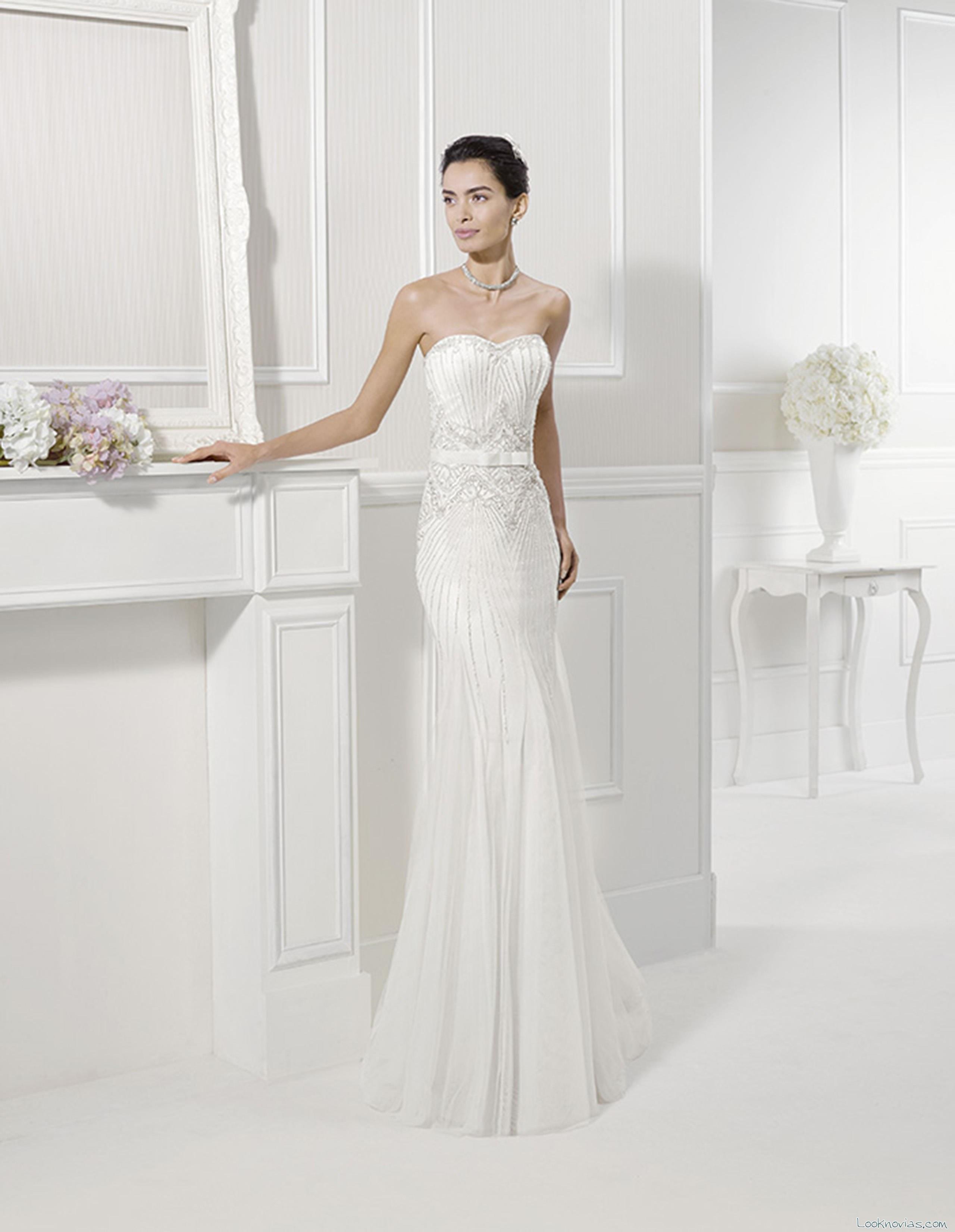 vestido fabiola alma novias strapless