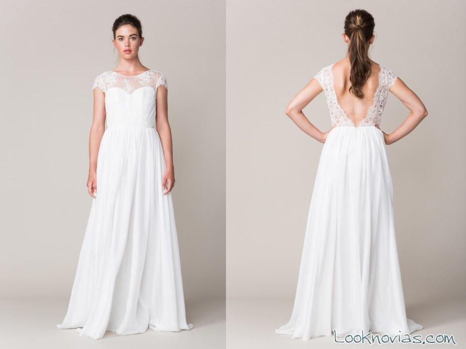 vestido falda gasa con escote sarah seven