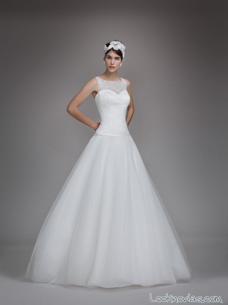 vestido falda plisada tul blancary 2017