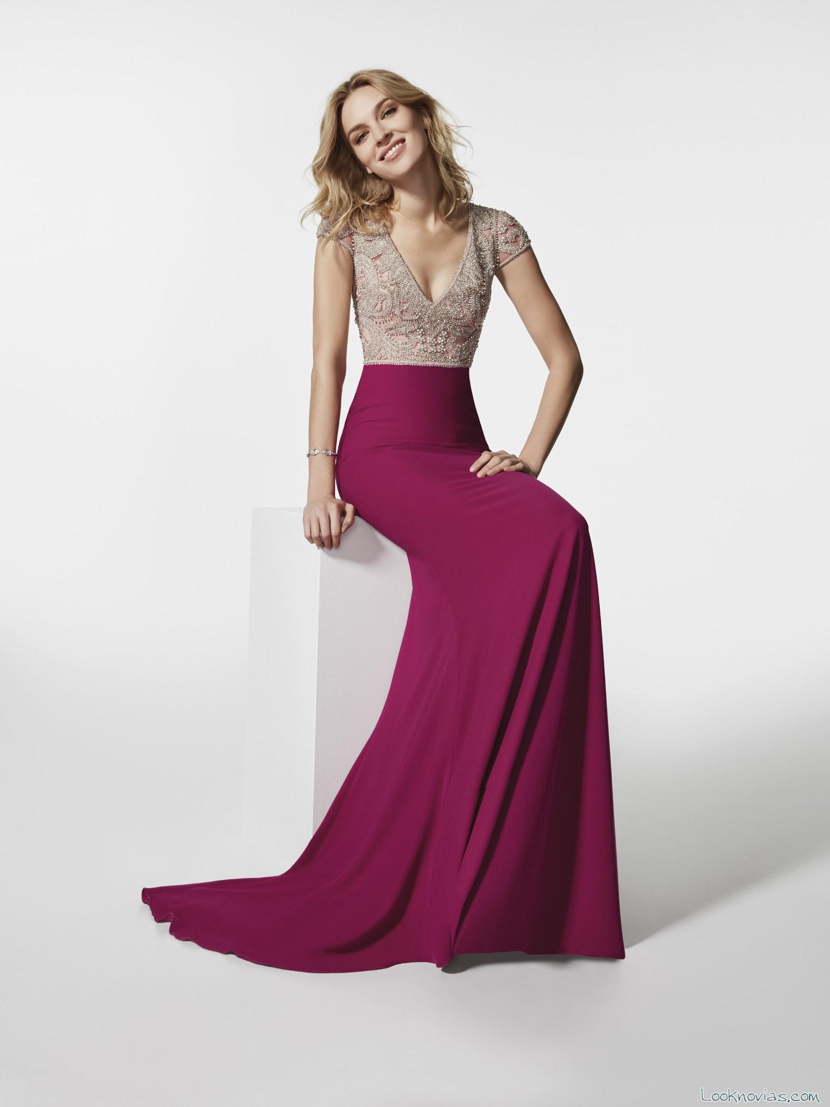 vestido fiesta gasa color pronovias 2018