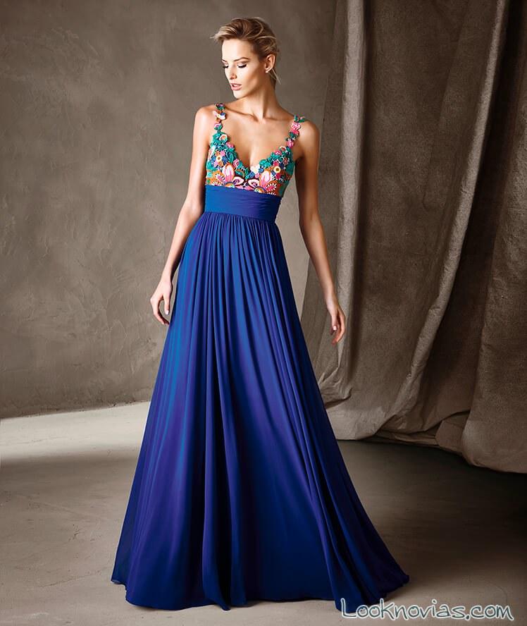 vestido fiesta pronovias en color azul 2017