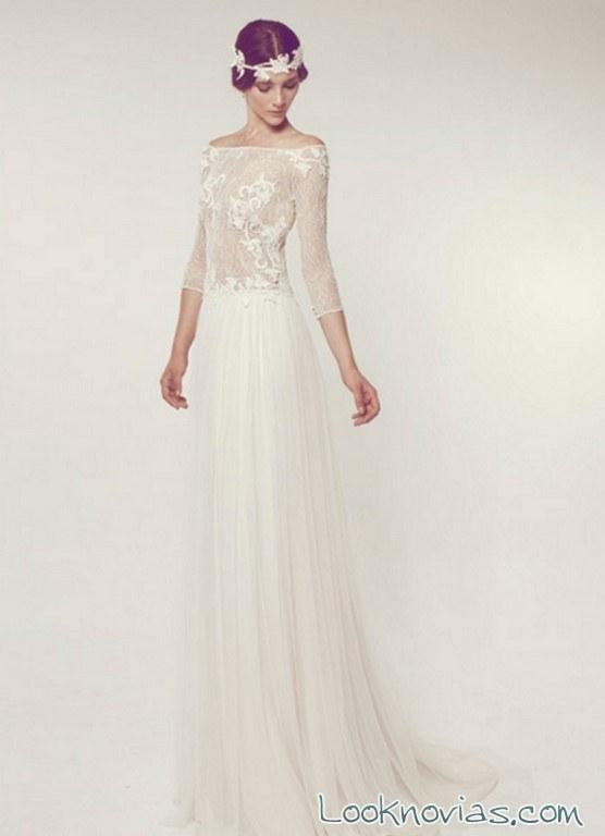 vestido gasa media manga novias whiteday
