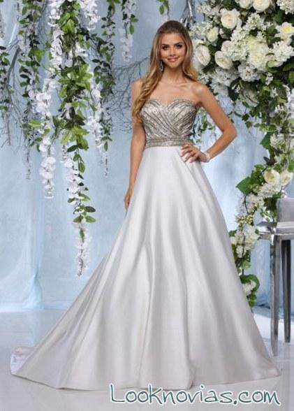 vestido impression bridal con falda de seda
