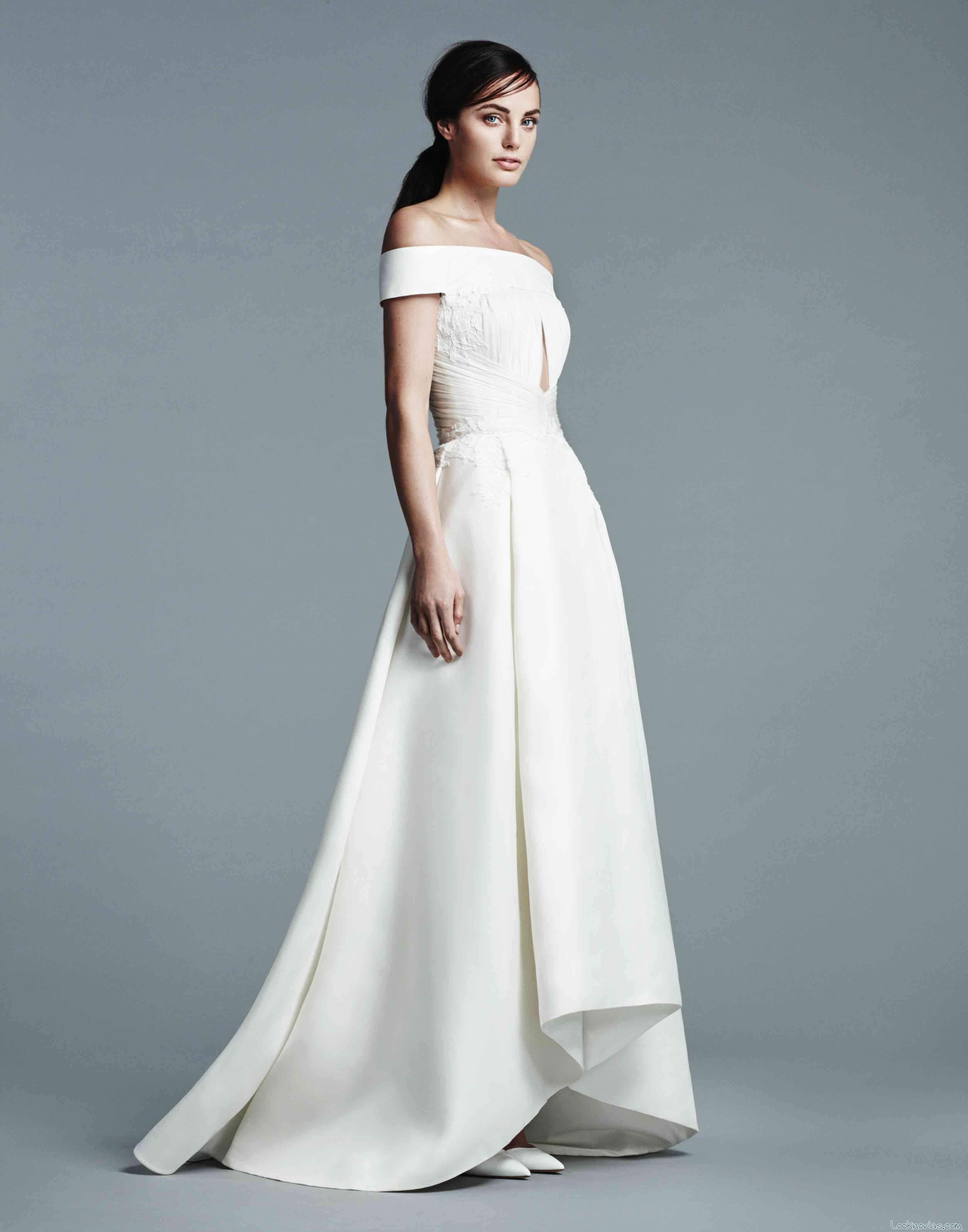 vestido j mendel con escote de hombros caídos