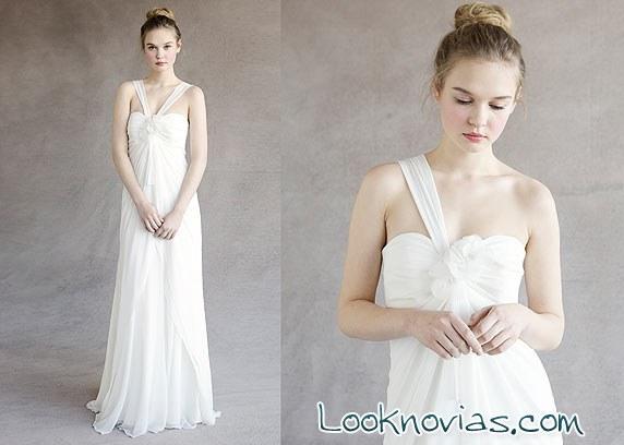 vestido jenny yoo con escote asimétrico