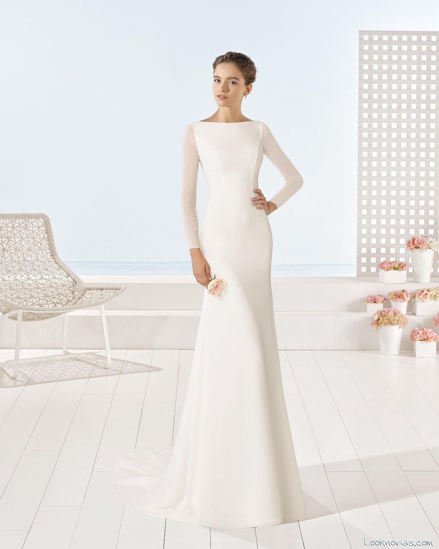 vestido largo con mangas luna novias