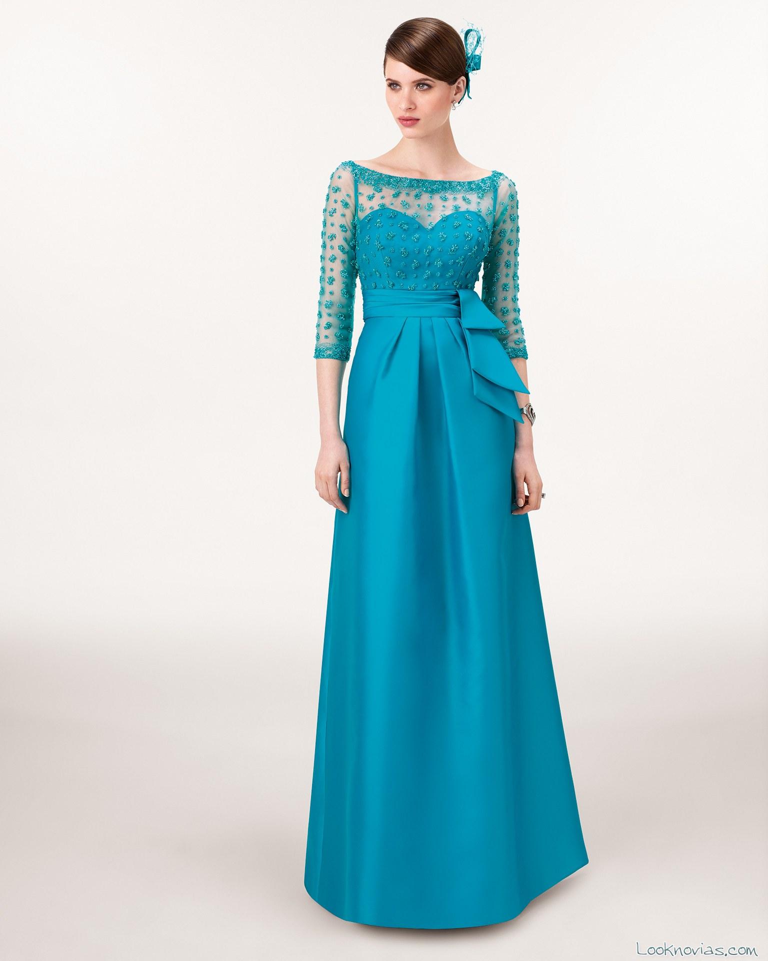 vestido largo de aire barcelona en azul