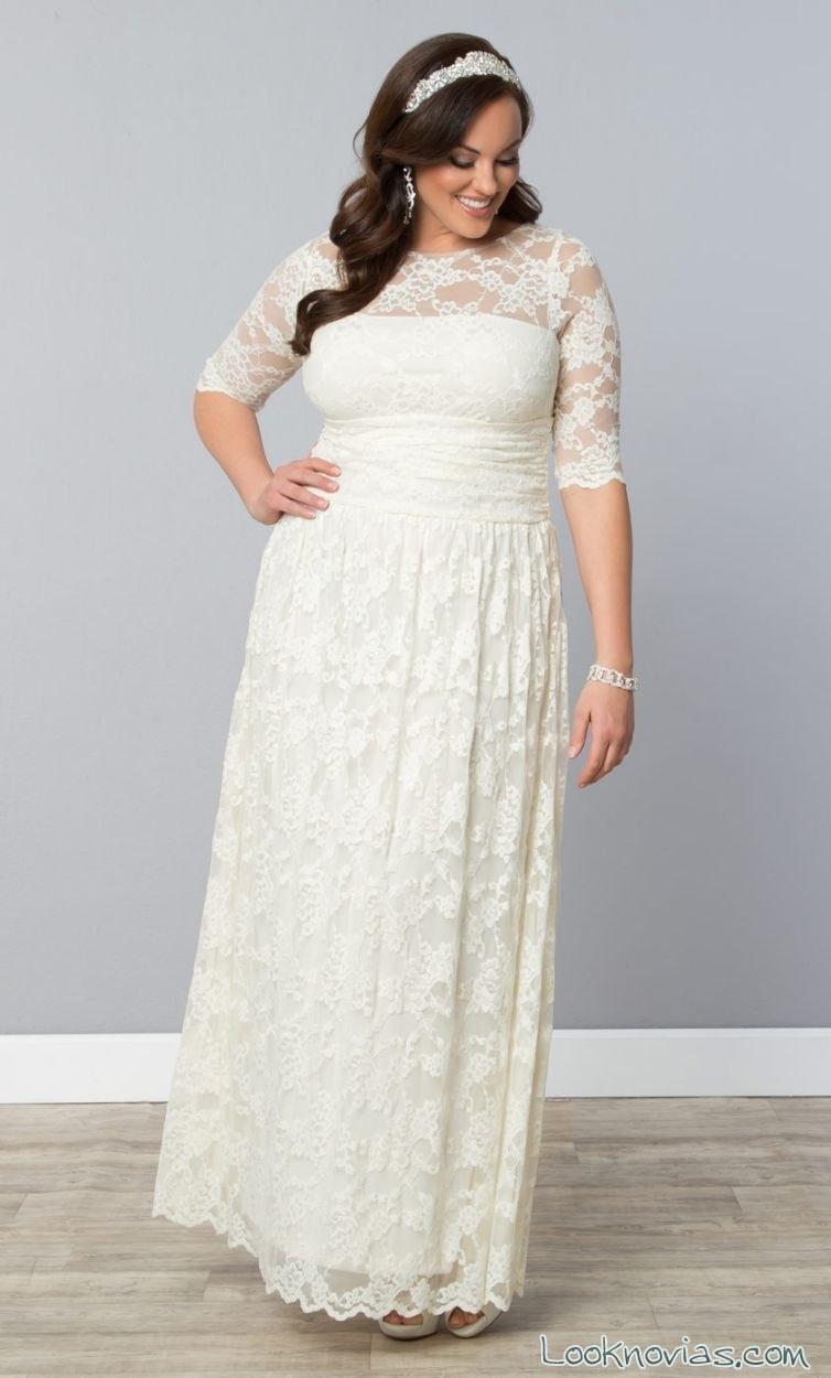 vestido largo de encaje plus size