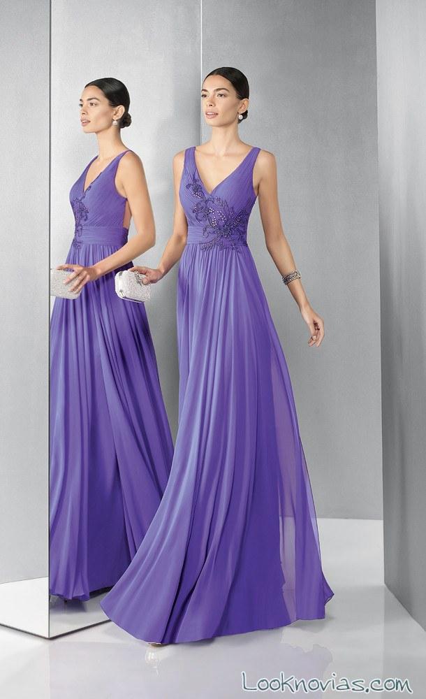 vestido largo de fiesta color malva