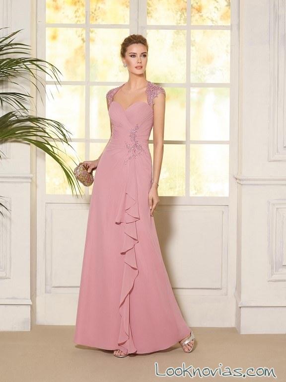 vestido largo de fiesta rosa fara sposa