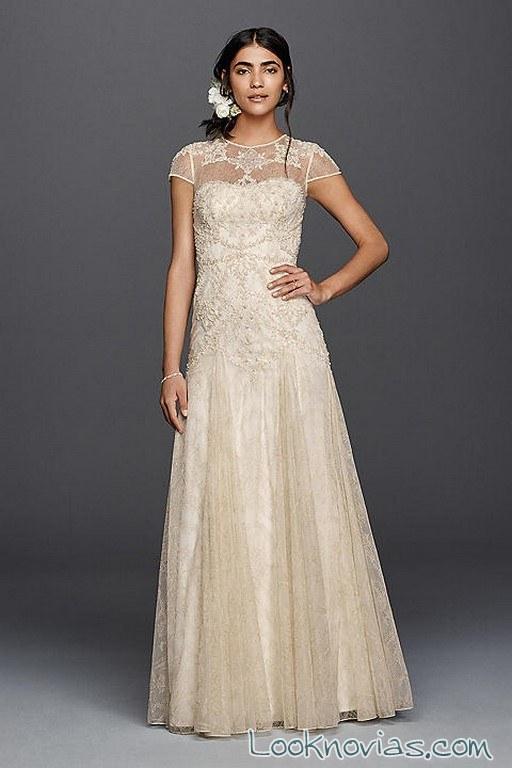 vestido largo novias color champán