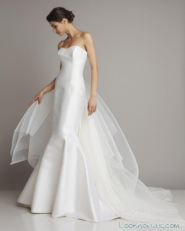 vestido largo sirena para novia 2016