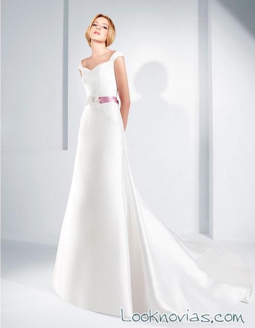 vestido lugo novias con cinturón en color
