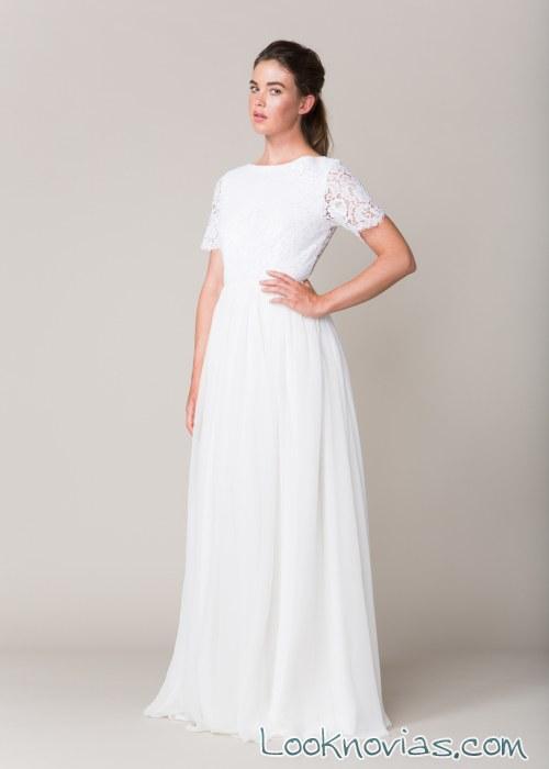 vestido manga corta blanco sarah seven