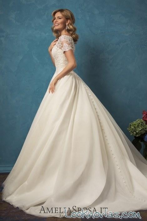 vestido manga corta de novia con encajes