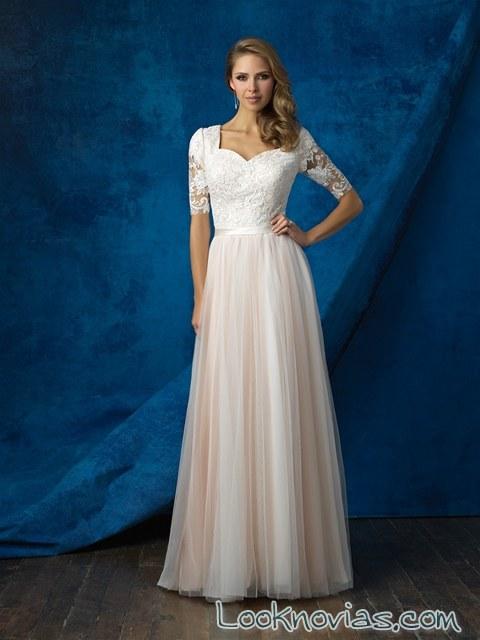 vestido manga corta plisado novias