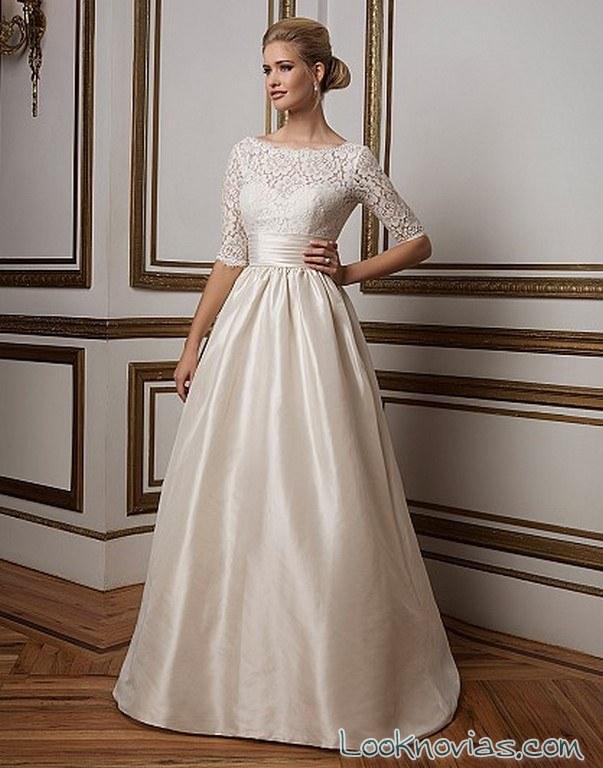vestido media manga para novias románticas