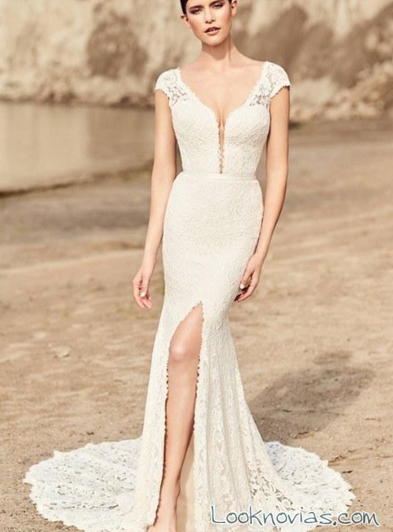 vestido mikaella bridal con abertura en falda
