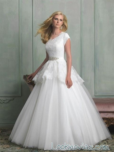 vestido modest novia peplum