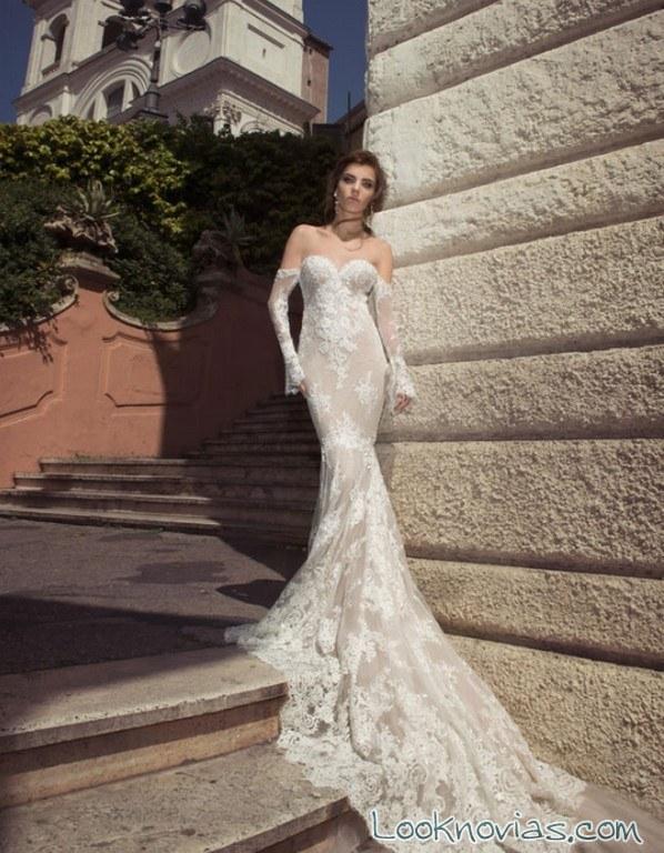 vestido novia bordados en relieve julie vino