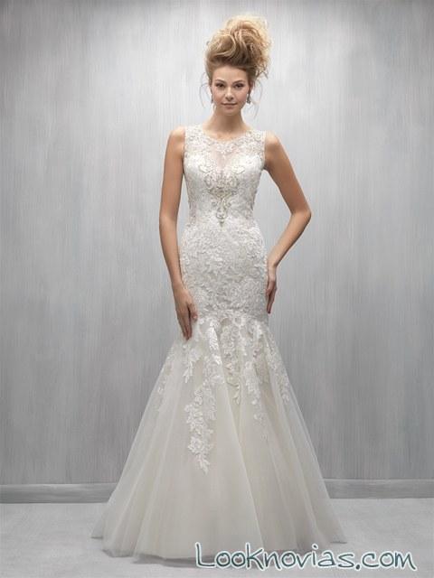vestido novia ceñido color