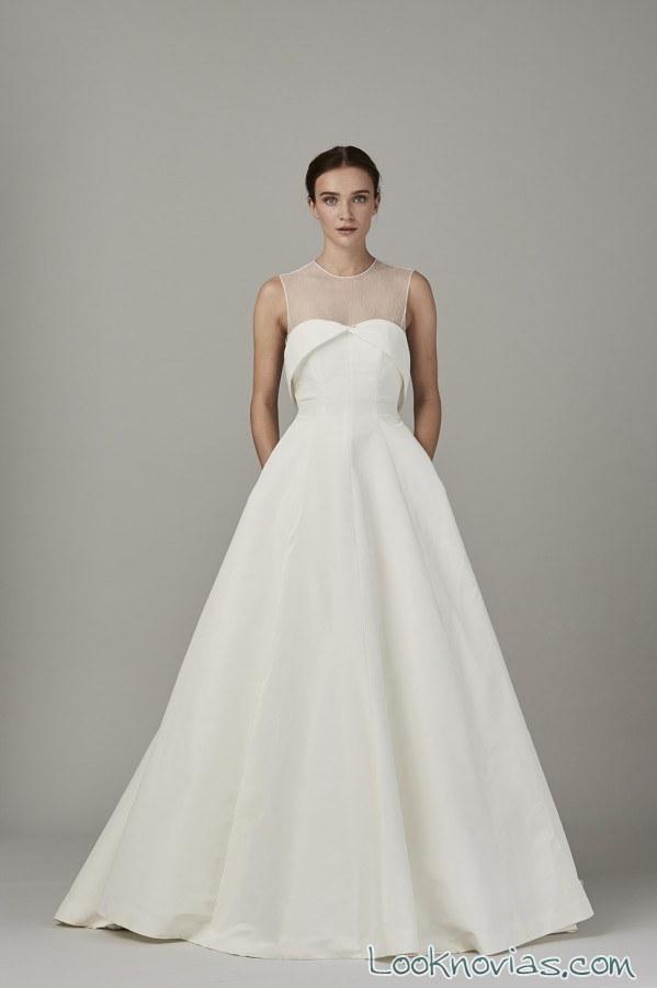 vestido novia con escote de tul lela rose