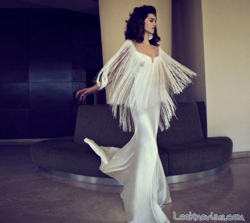 vestido novia con flecos zahavit tshuba