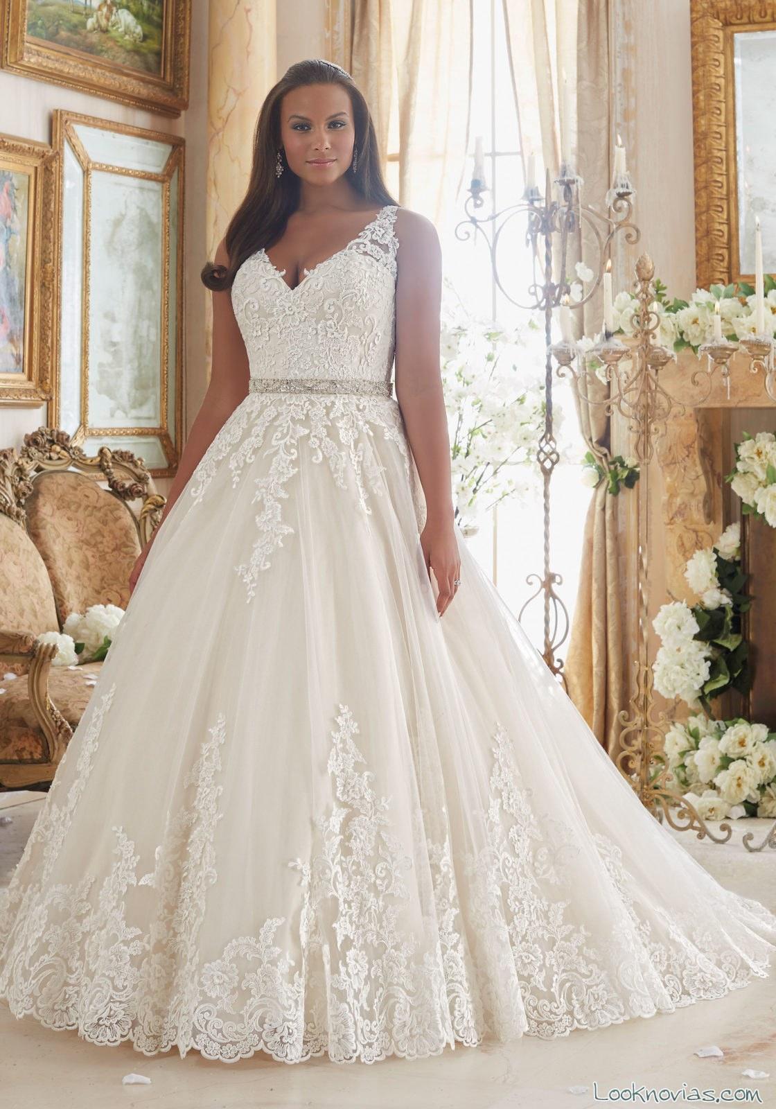 vestido novia corte A plus size mori lee