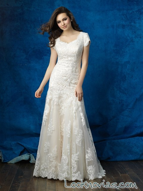 vestido novia corte sirena suave