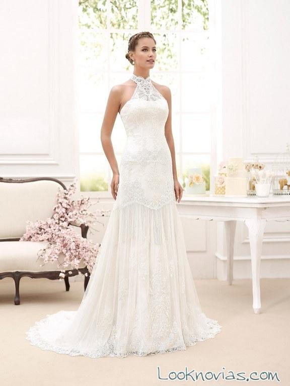 vestido novia d´art con escote halter