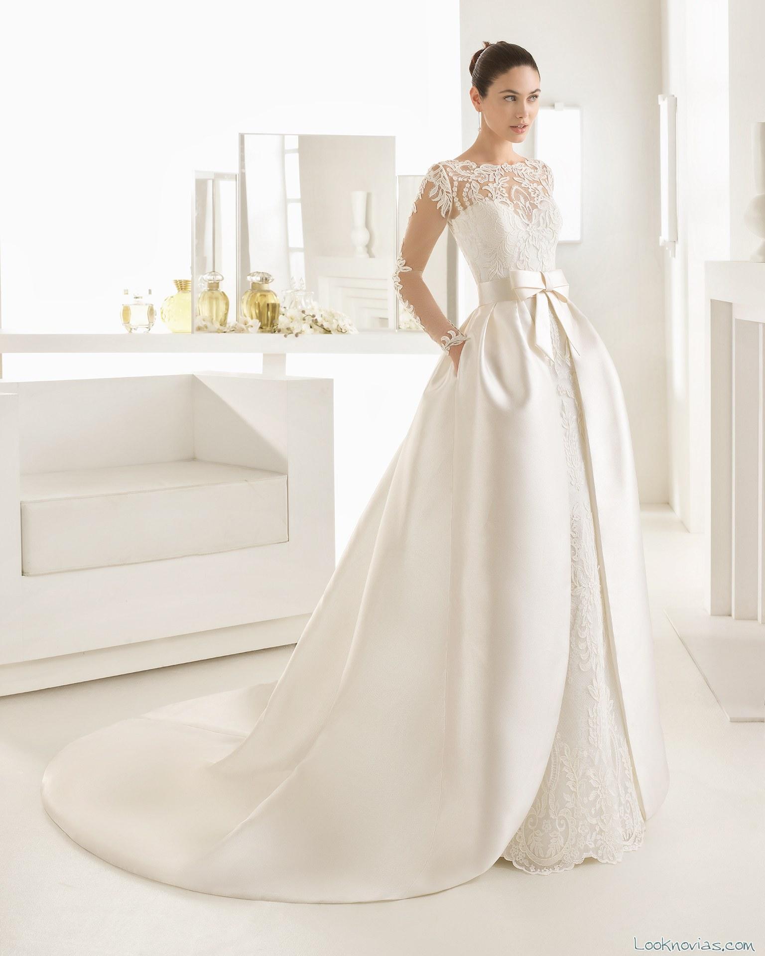 vestido novia doble falda rosa clará two