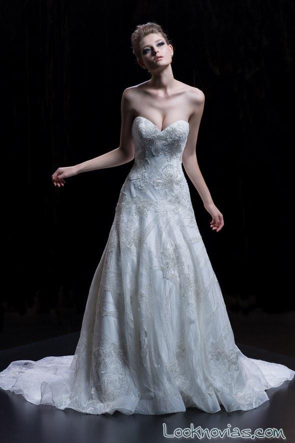 vestido novia evasé demetrios 2018